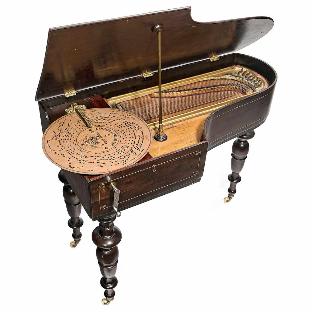 Lot 357 - Orpheus Mechanical Piano, c. 1900 Model no. 18, hand-cranked, for Ariston cardboard discs of 13