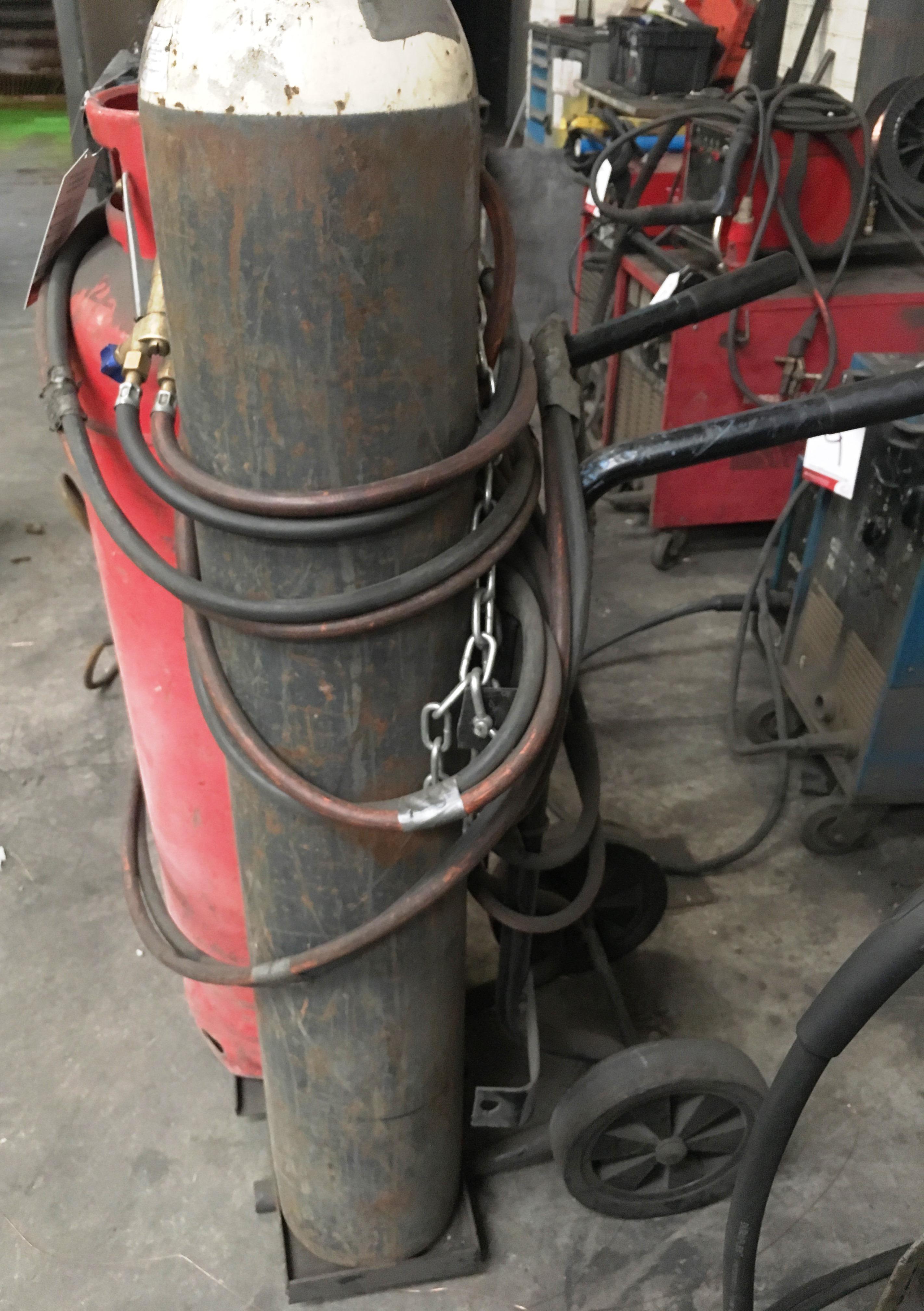 Lot 14 - Twin Gas Bottle Trolley w/ Welding Torch - Gas Bottles Not Included!
