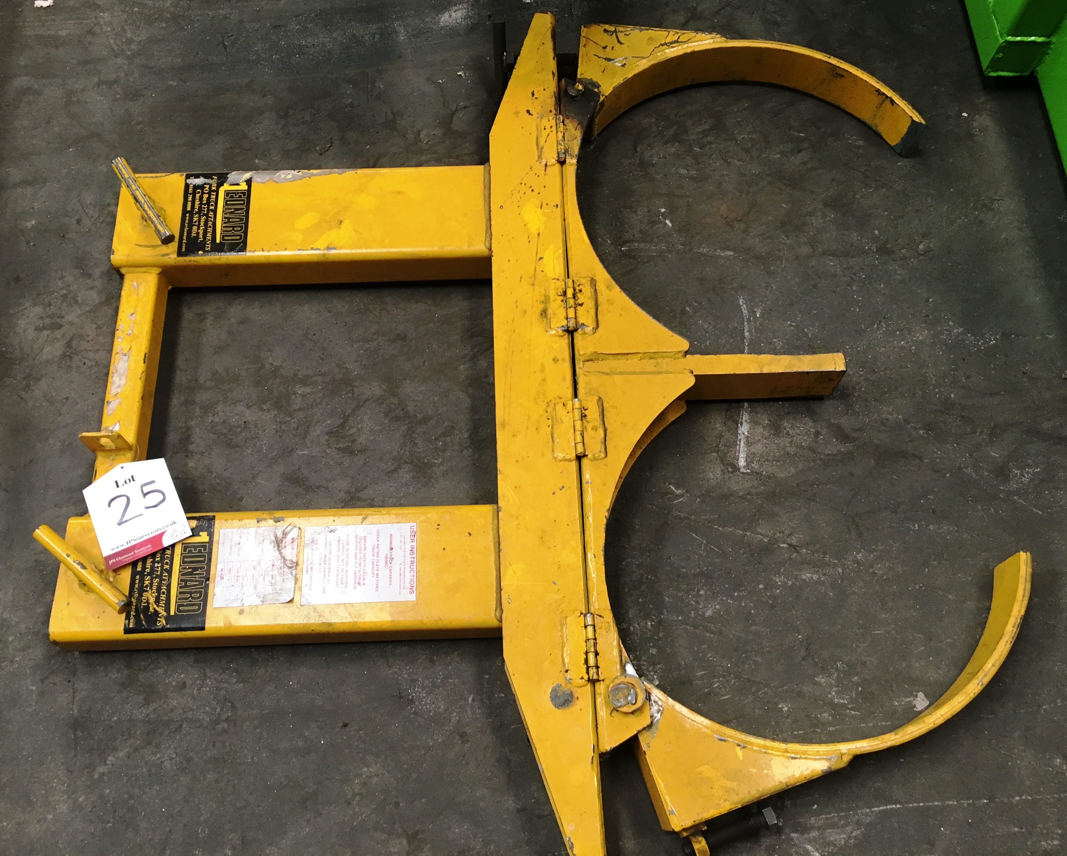 Lot 25 - Leonard Fork Mounted Dual Drum Lifter Attachment