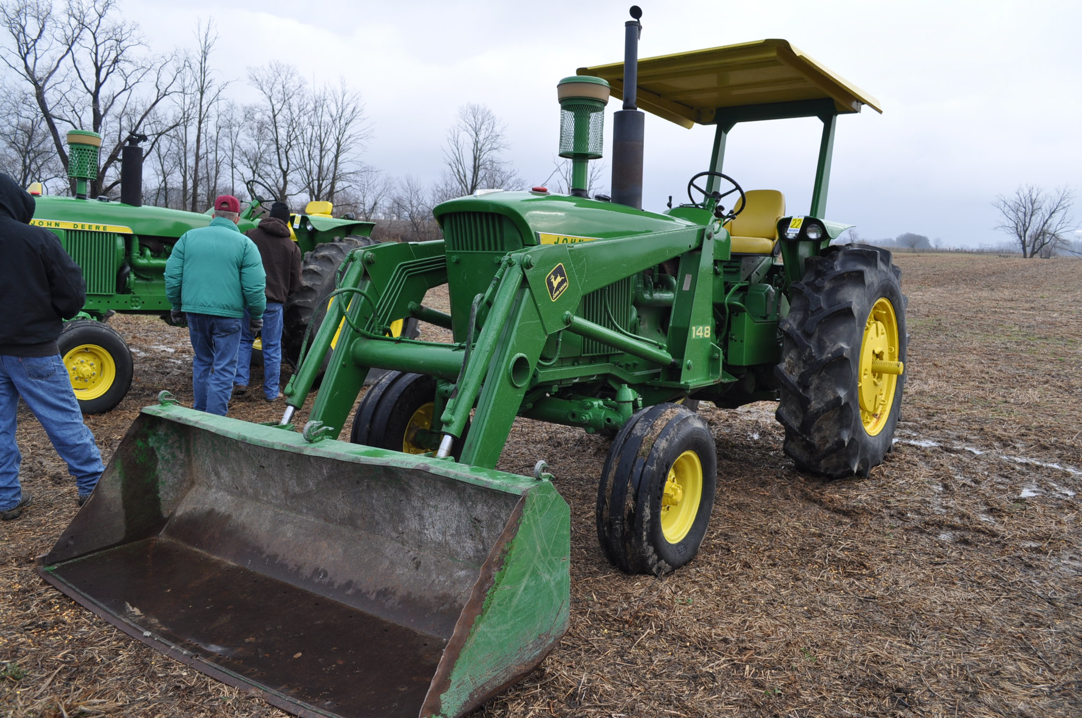 John Deere 4020 tractor, diesel, 18.4-34 tires w/ clamp on dual rims, 11L-15 front, ROPS w/