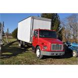 1999 Freightliner FL60 box truck, 20' box with roll up door, single axle, CAT 3126, 5 sp, hyd brake