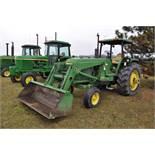 John Deere 4030 tractor, diesel, 18.4-34 rear duals, rear wts, 9.5-15 front, 4-post canopy, Syncro,