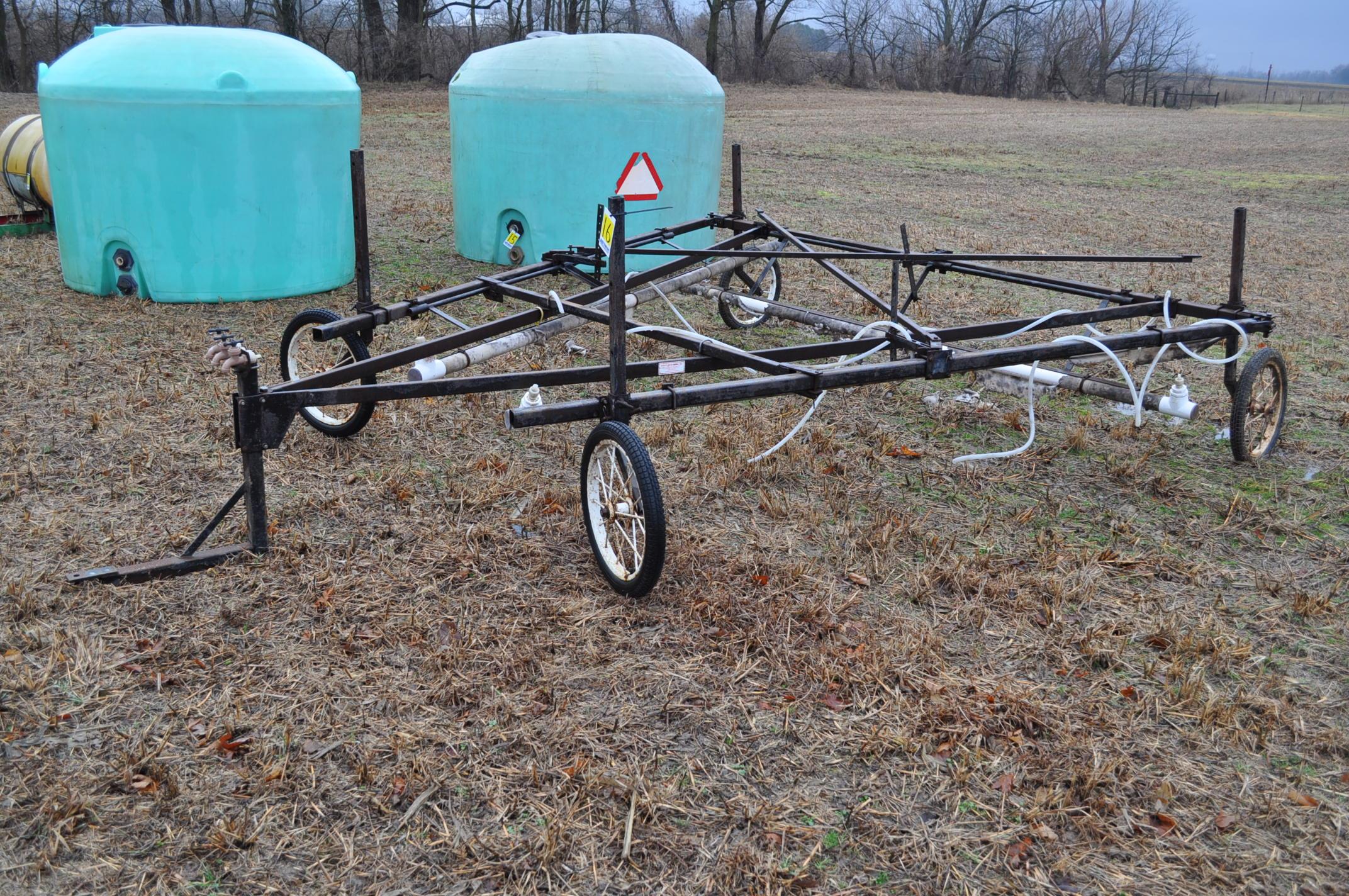 30' Quality Metal Works weed wiper cart, needs work