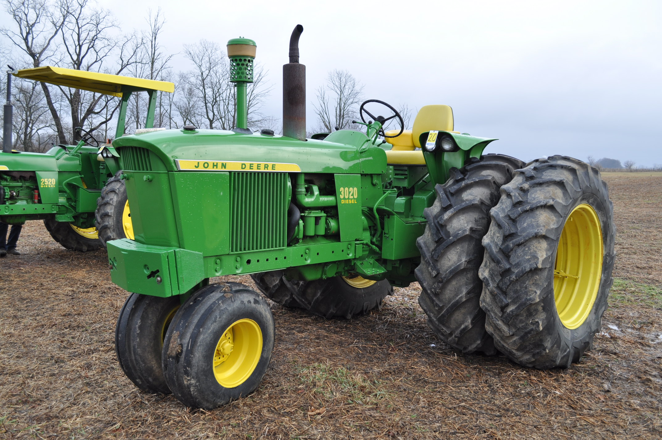 John Deere 3020 tractor, diesel, 18.4-34 rear, clamp on duals, 11L-15 narrow front, Syncro, 2