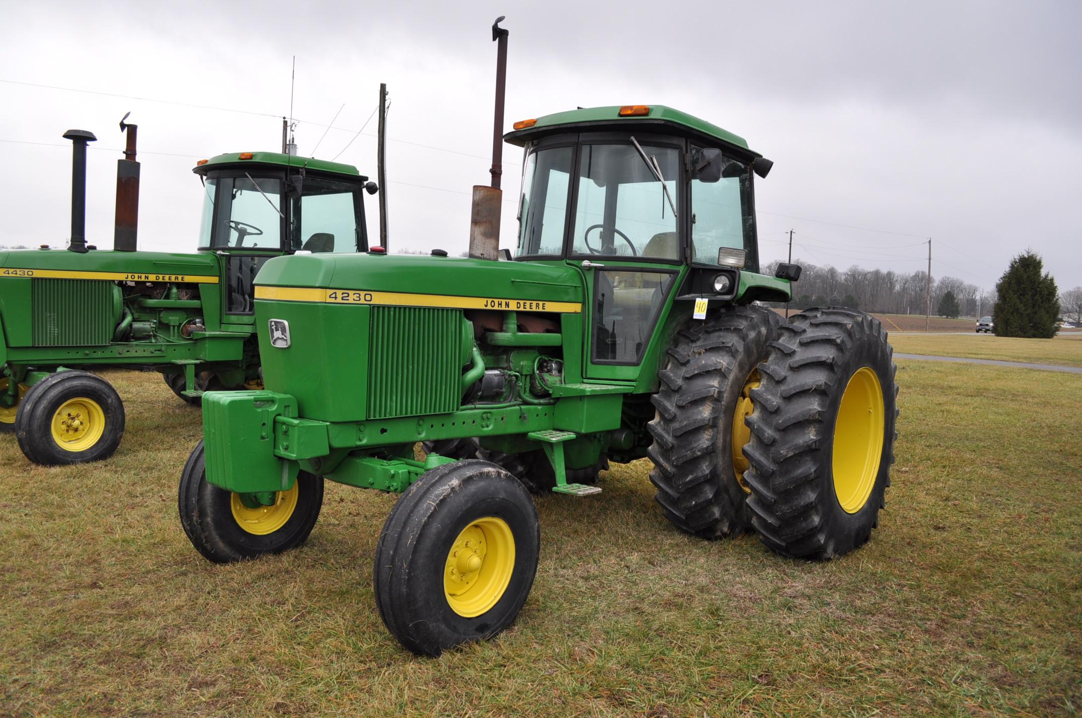 John Deere 4230 tractor, diesel, 18.4-34 hub duals, 10.00-16 front, CHA, Quad range, 2 hyd