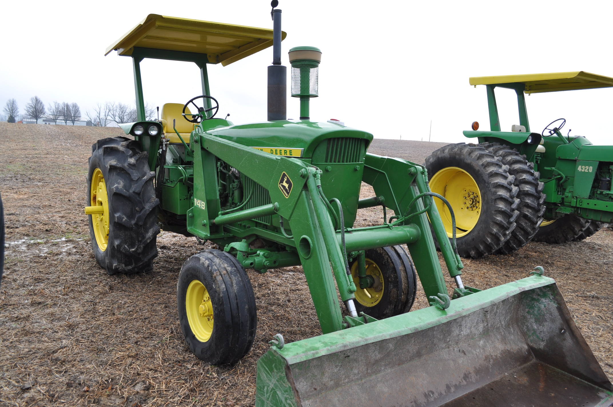 John Deere 4020 tractor, diesel, 18.4-34 tires w/ clamp on dual rims, 11L-15 front, ROPS w/ - Image 4 of 22