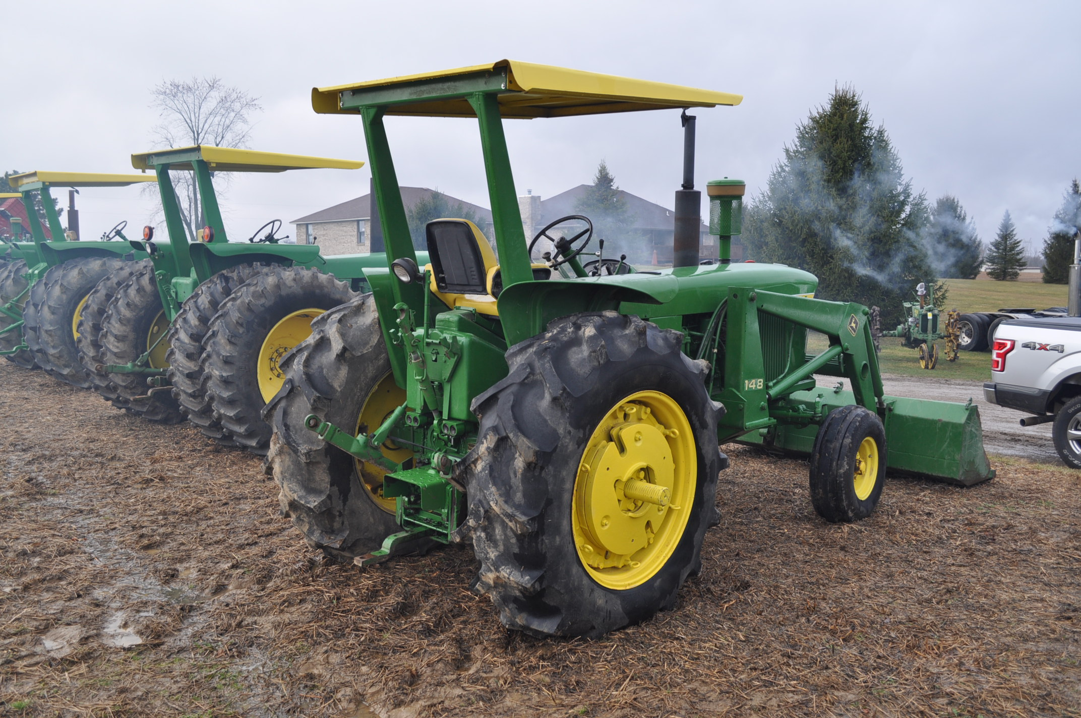 John Deere 4020 tractor, diesel, 18.4-34 tires w/ clamp on dual rims, 11L-15 front, ROPS w/ - Image 3 of 22