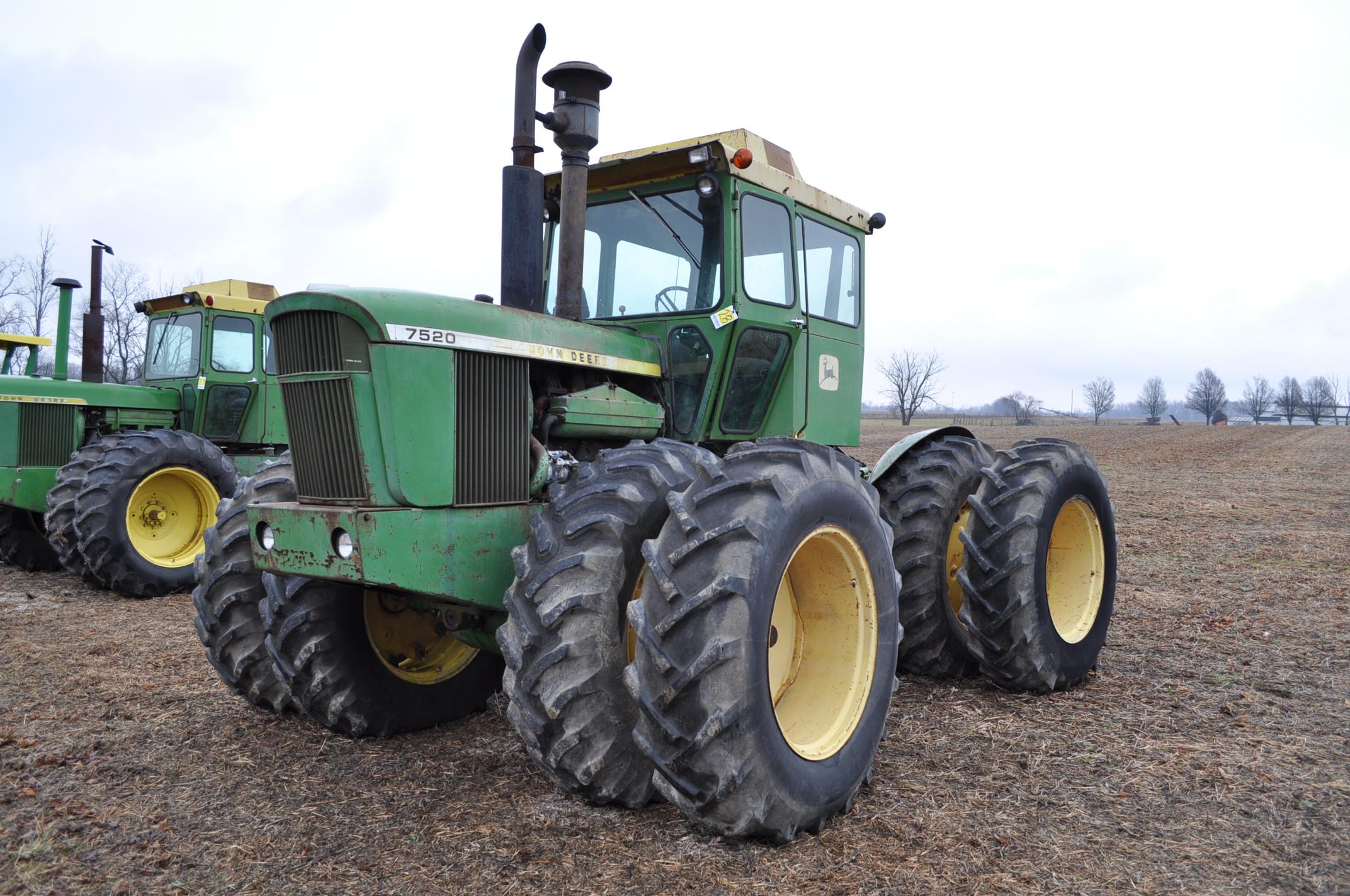 John Deere 7520 tractor, 4WD, diesel, 18.4-34 duals, original fenders, CHA, cab interior kit, 3