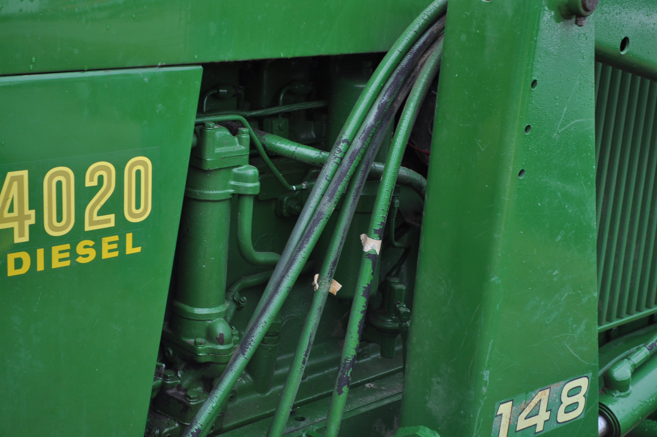 John Deere 4020 tractor, diesel, 18.4-34 tires w/ clamp on dual rims, 11L-15 front, ROPS w/ - Image 12 of 22