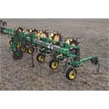 """John Deere 825 row crop cultivator, 6 row, 30"""", 3 pt, Danish tine, rolling fenders"""