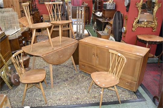 An Ercol Dining Room Suite Comprising Four For John Lewis