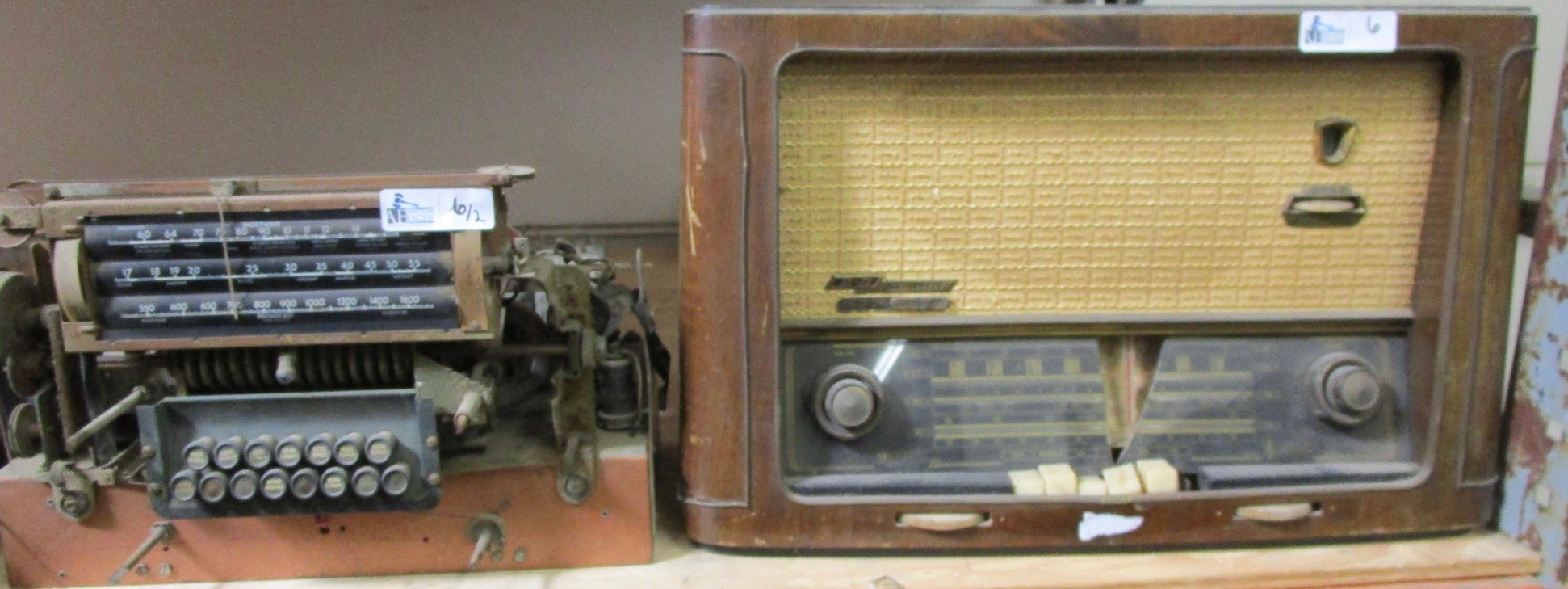 LOT OF 2 VINTAGE RADIOS INCLUDING GRUNDIG, MAJESTIC WITH TUBES