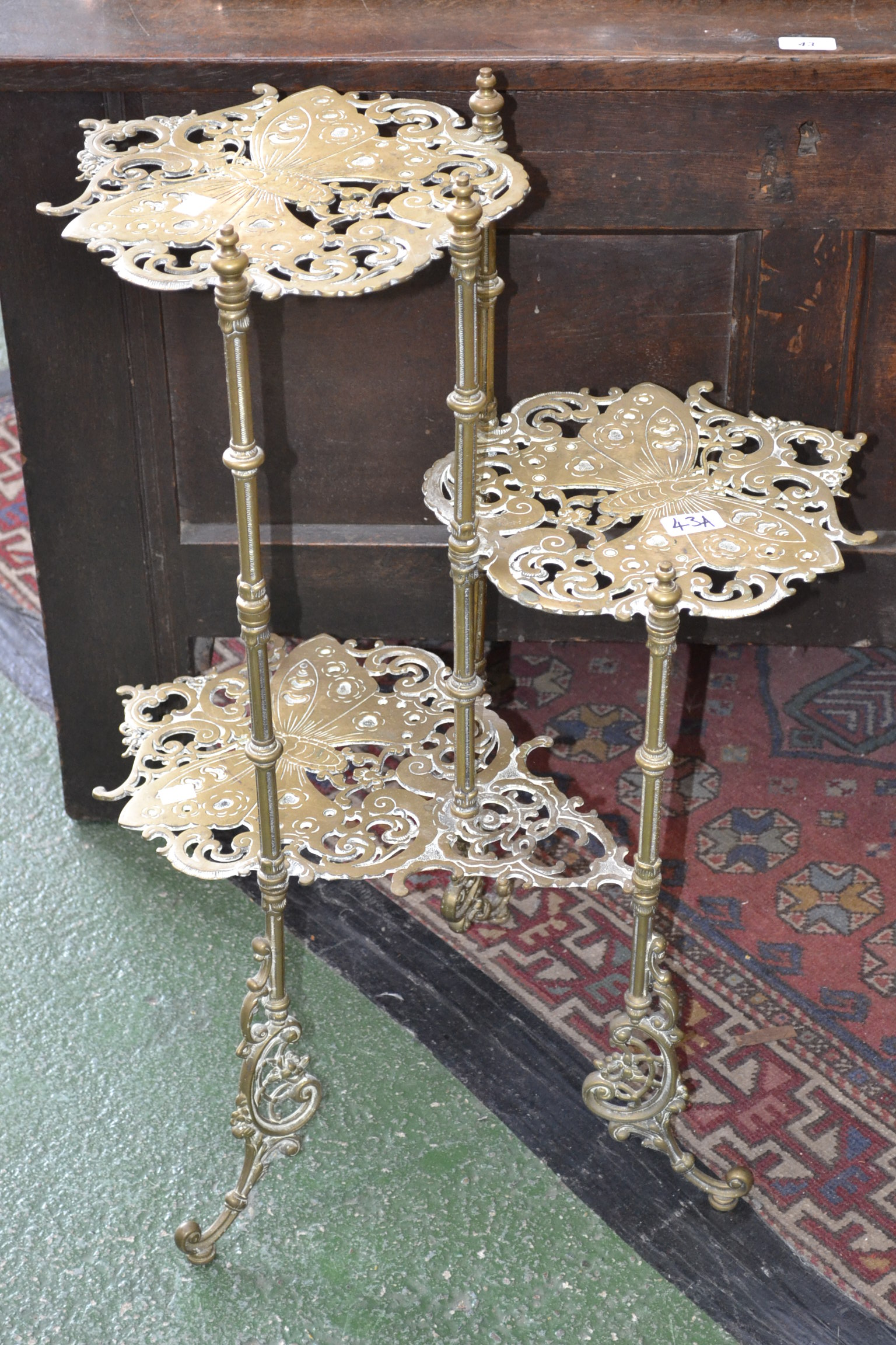 a 20th century decorative brass etagere. Black Bedroom Furniture Sets. Home Design Ideas