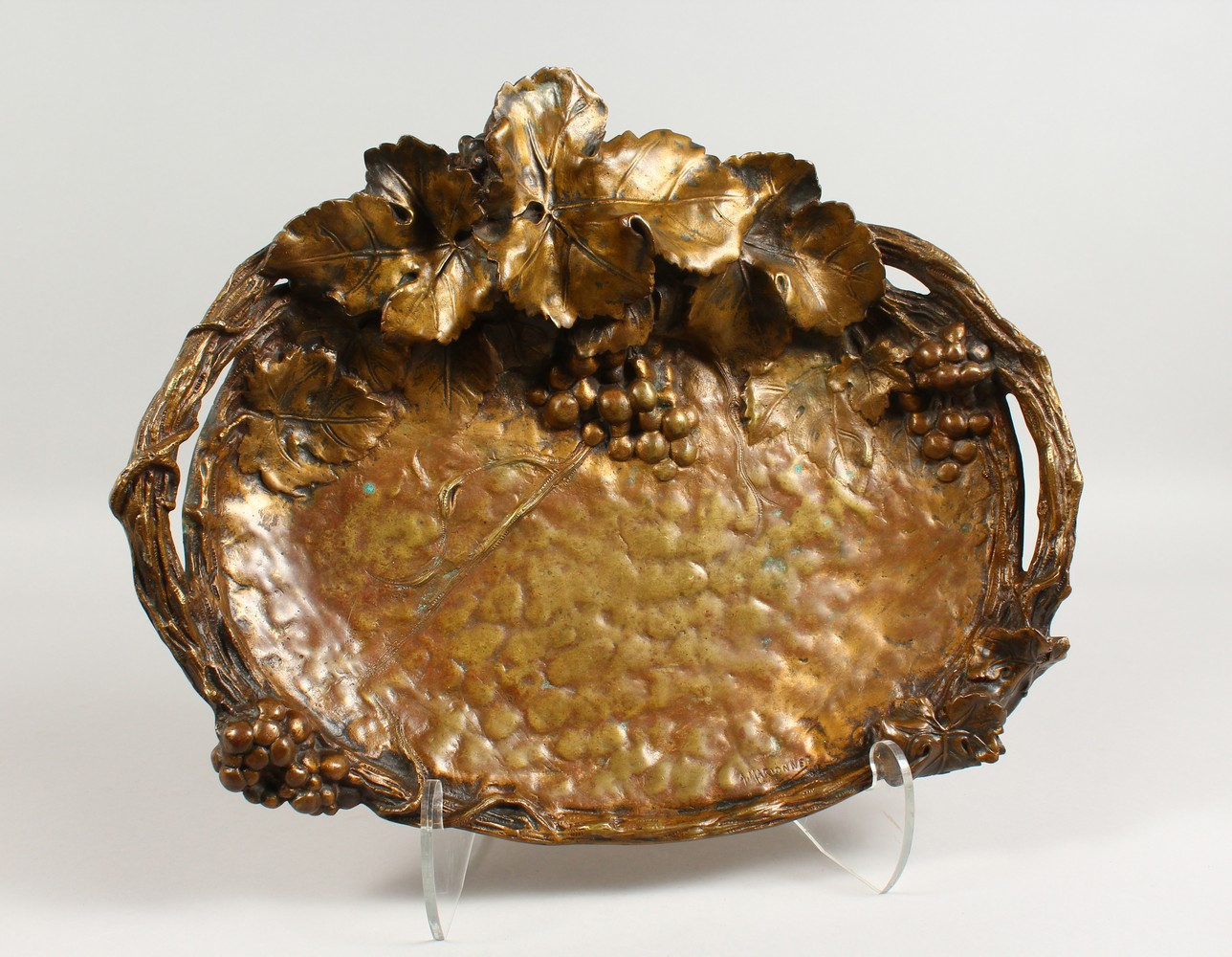 Lot 1569 - ALBERT MARIONNET (1852-1910) A SUPERB LARGE GLASS BRONZE OVAL TRAY, with rustic handles and fruiting