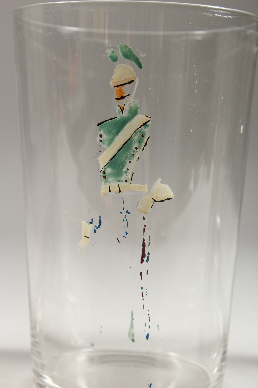 Lot 1082 - A SET OF EIGHT LARGE GLASS BEAKERS, enamelled with figures. 5ins high