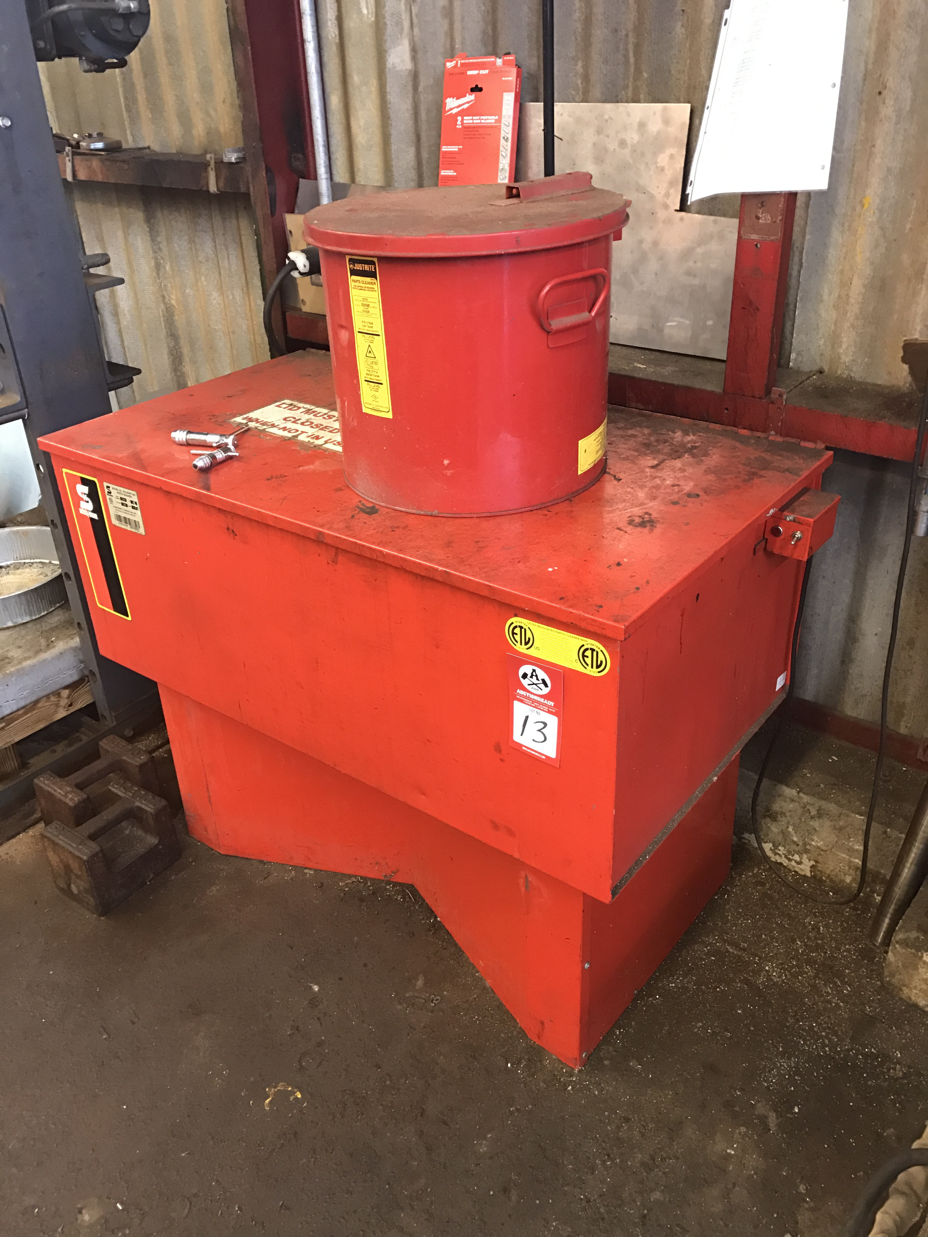 Lot 13 - Parts Washer, Safety Kleen model 44 Solvent Vat Parts Washer with JustRite 8 gallon Parts Cleaner/
