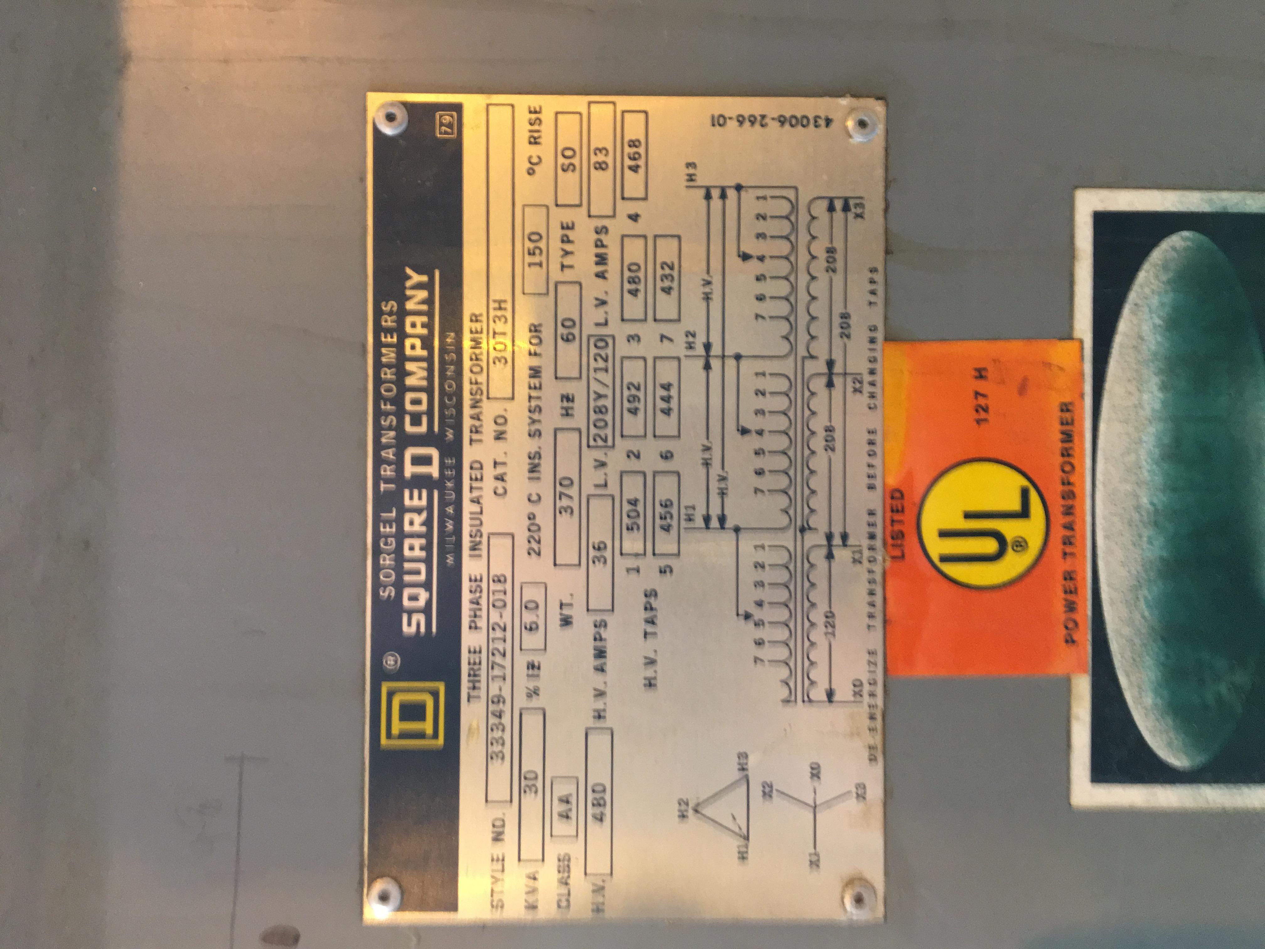 Lot 37A - Square D transformer