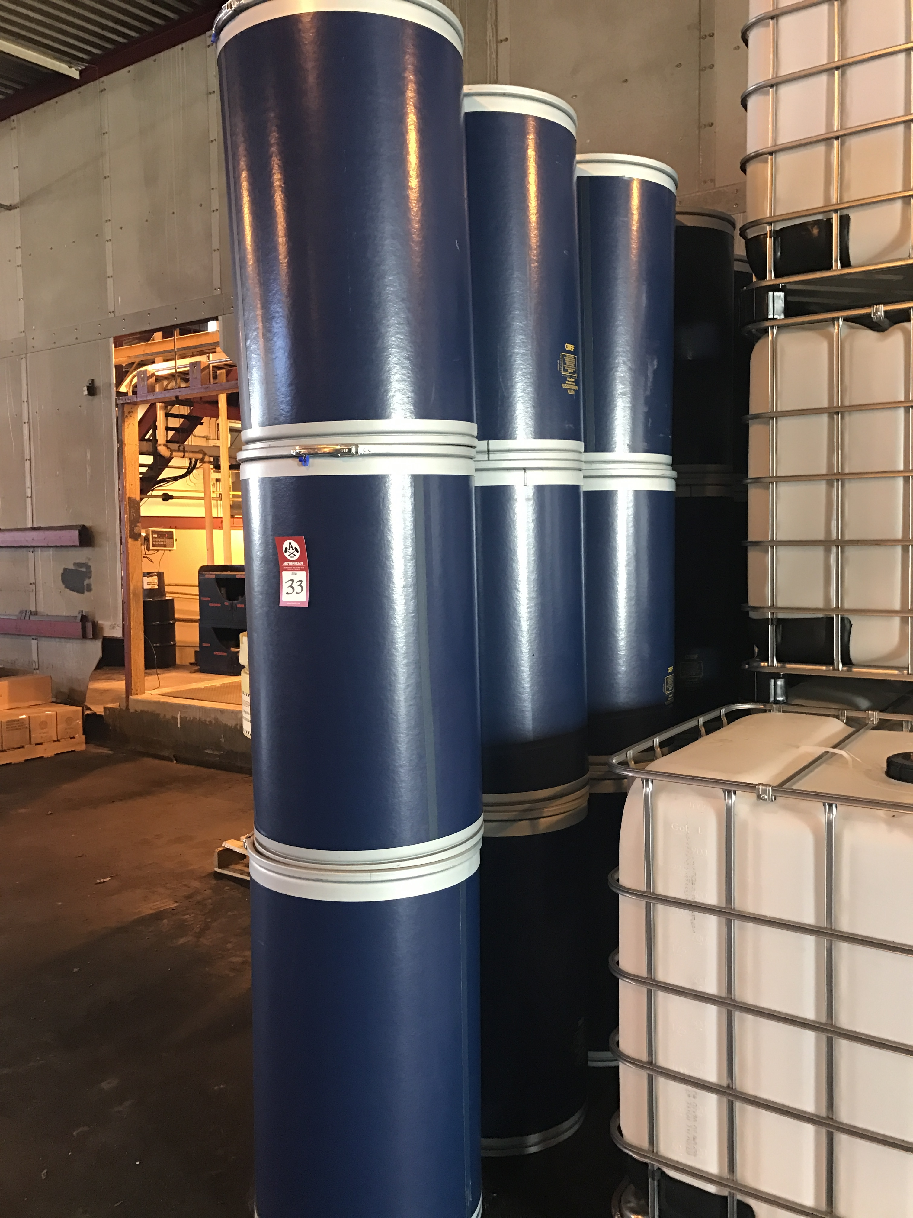Lot 33 - Lot of 24 Fiber Drums, Greif Liquids Type 24, 600 lbs. capacity, lot of twenty-four (24), Brand New