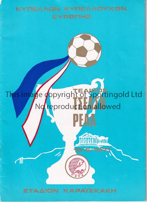Lot 363 - ECWC FINAL 1971 Programme for Real Madrid v Chelsea. 1971 Cup-Winners Cup Final Good