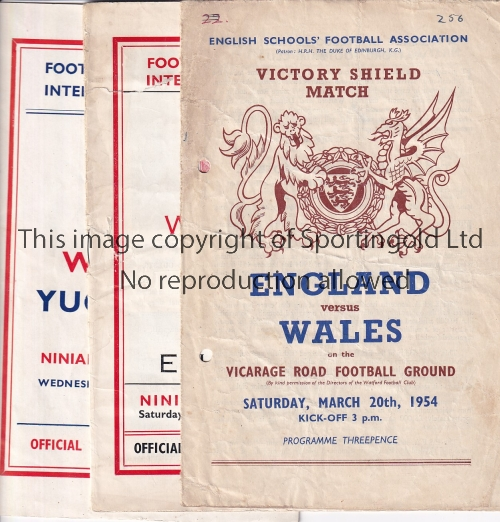 Lot 1340 - WALES A collection of 11 Wales programmes to include England v Wales Schools at Watford (ph) 1954,