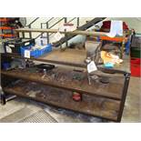 A steel framed work bench approx 2,000x600mm with Record No. 25 vice