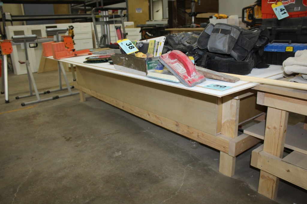 """WOOD TABLE 96"""" X 30"""" X 23"""" WITH 4' X 8' X 1/4"""" SHEETS"""