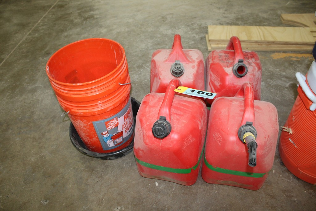 (4) GAS CANS WITH (2) 5 GALLON PAILS AND DRAIN PAN