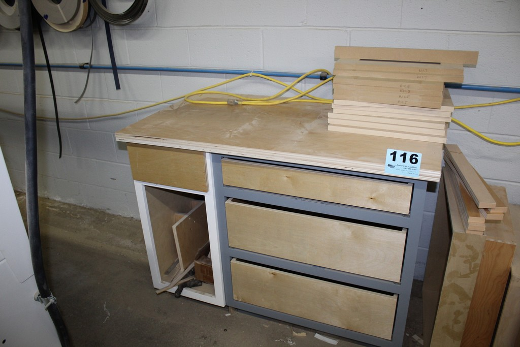"""WOOD CABINET WITH DRAWERS 47"""" X 26"""" X 35"""""""