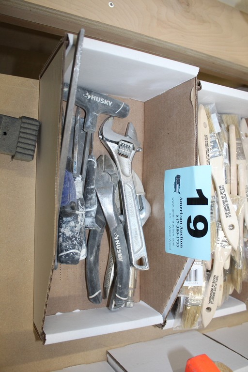ASSORTED TOOLS INCLUDING CRESCENT, WRENCH, PLIERS, SCREWDRIVERS, ETC.