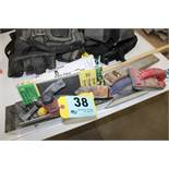 ASSORTED DRYWALL TAPING AND SANDING TOOLS
