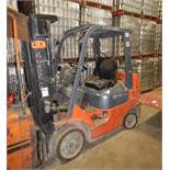 "TOYOTA 7FGCU25 LPG FORKLIFT WITH 4500 LB. CAPACITY, 189"" VERTICAL LIFT, SIDE SHIFT, CUSHION TIRES,"