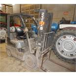 "NISSAN MCPL02A2SLV LPG FORKLIFT WITH 4400 LB. CAPACITY, 187"" VERTICAL LIFT, SIDE SHIFT, CUSHION"