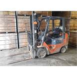 "TOYOTA 7FGCU25 LPG FORKLIFT WITH 5000 LB. CAPACITY, 189"" VERTICAL LIFT, SIDE SHIFT, CUSHION TIRES,"