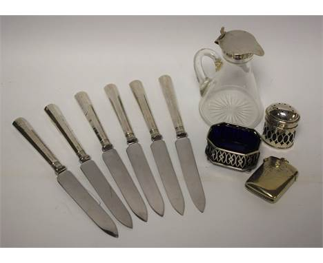 A silver topped Whisky noggin; a silver pepperette, blue glass liner; a silver salt, blue glass liner; a set of six silver ha