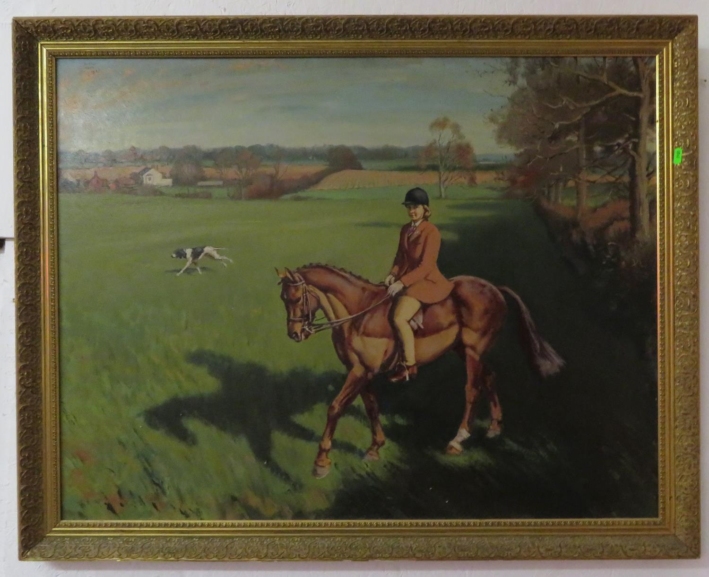 Lot 3 - Large oil on board Huntswoman on horse