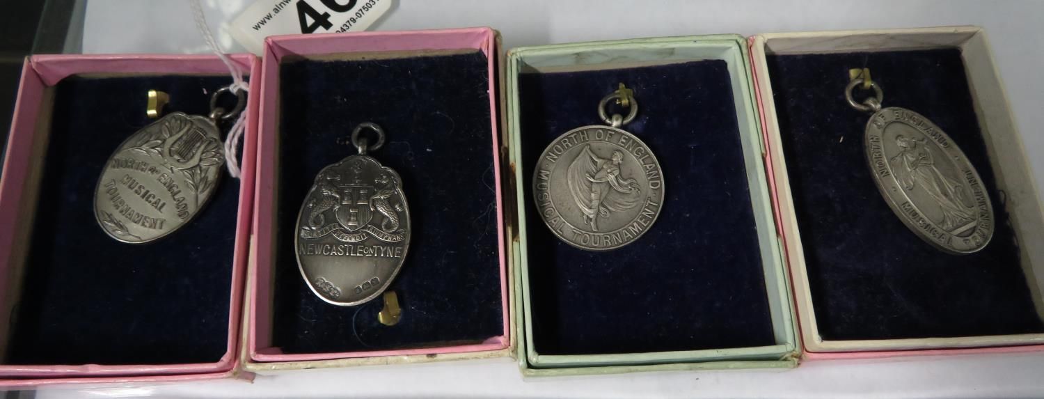 Lot 46 - 4x hallmarked silver North of England Music Tournament medals