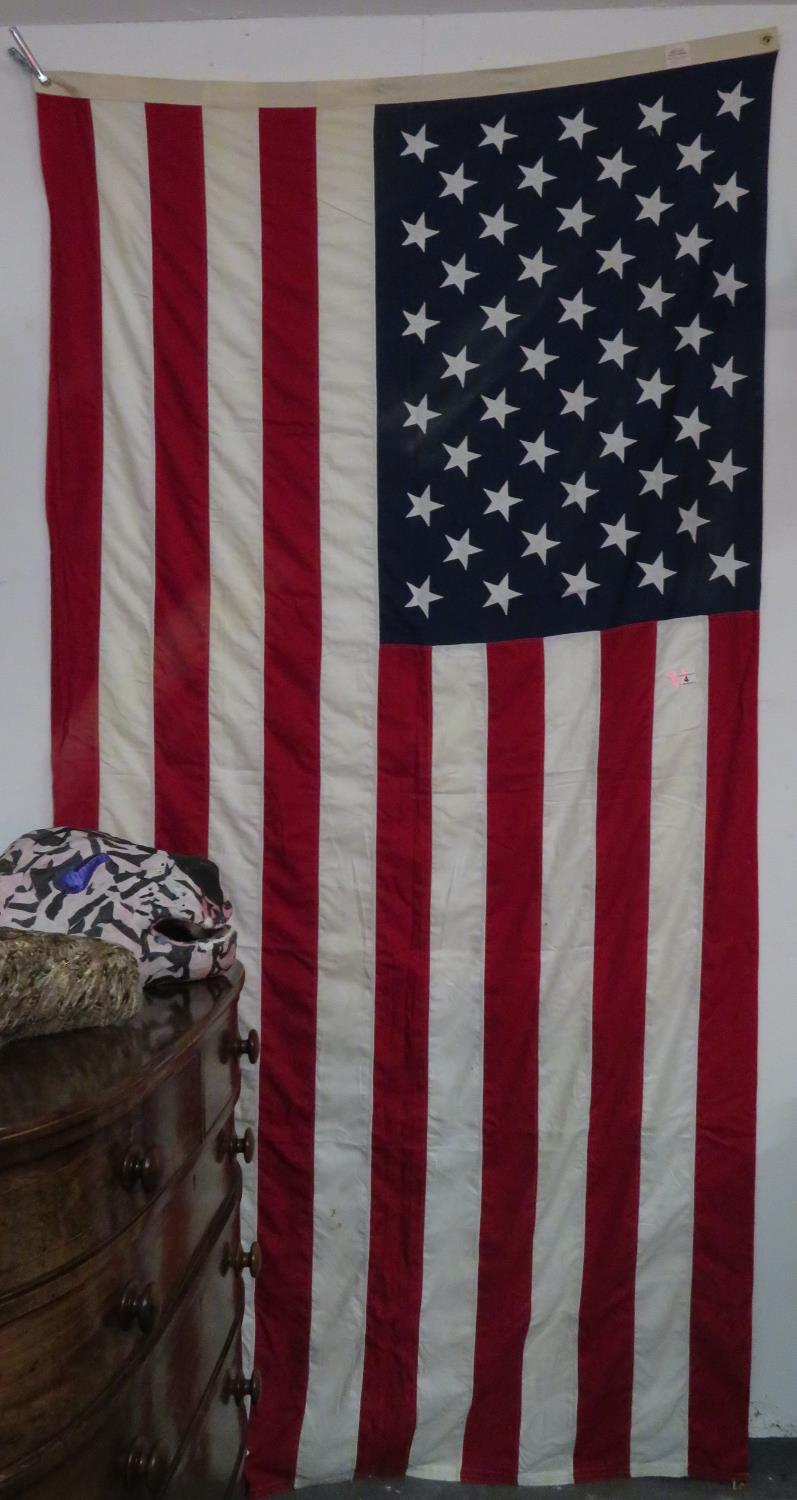 Lot 4 - Large 5' x 8' American flag - hand stitched cotton