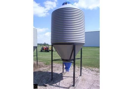 Buffer Valley Ind  poly hopper feed bin w/ steel stand