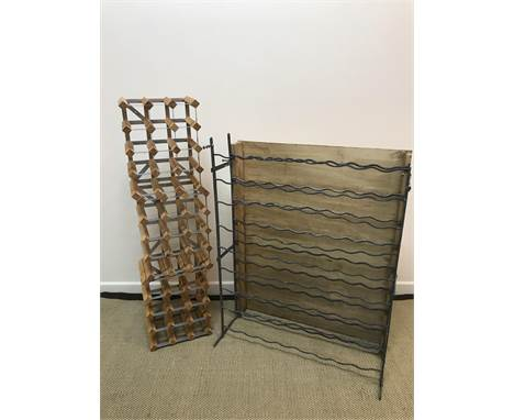 A vintage painted wrought iron 72 bottle wine rack, 81.5 cm wide x 20 cm deep x 100 cm high and three pine and metal framed m