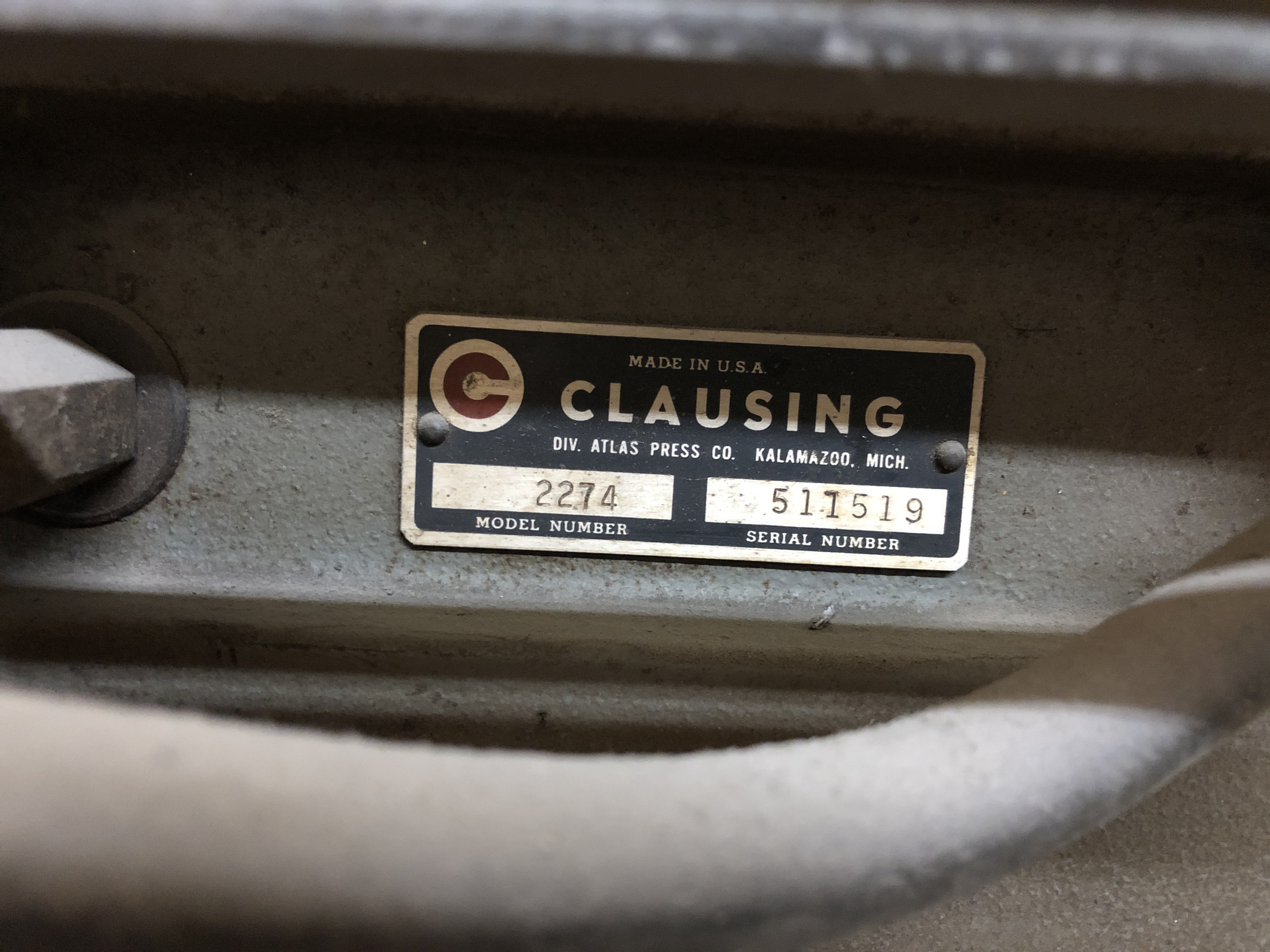 Clausing Drill Press, Model# 2274, Serial# 511519, 208-220/440V - Image 2 of 5