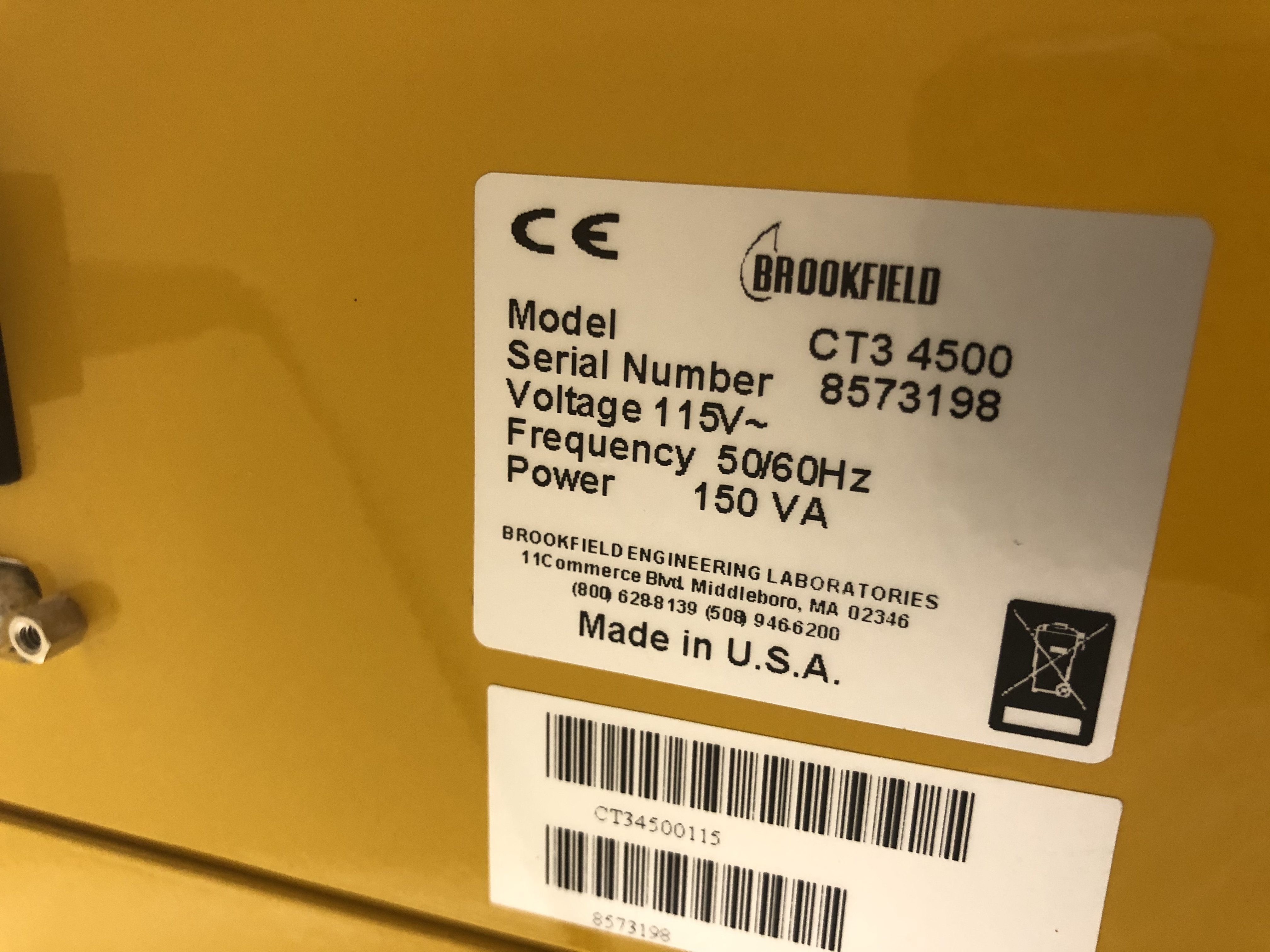 Brookfield Texture Analyzer, Model# CT3 4500, Serial# 8573198 - Image 2 of 4