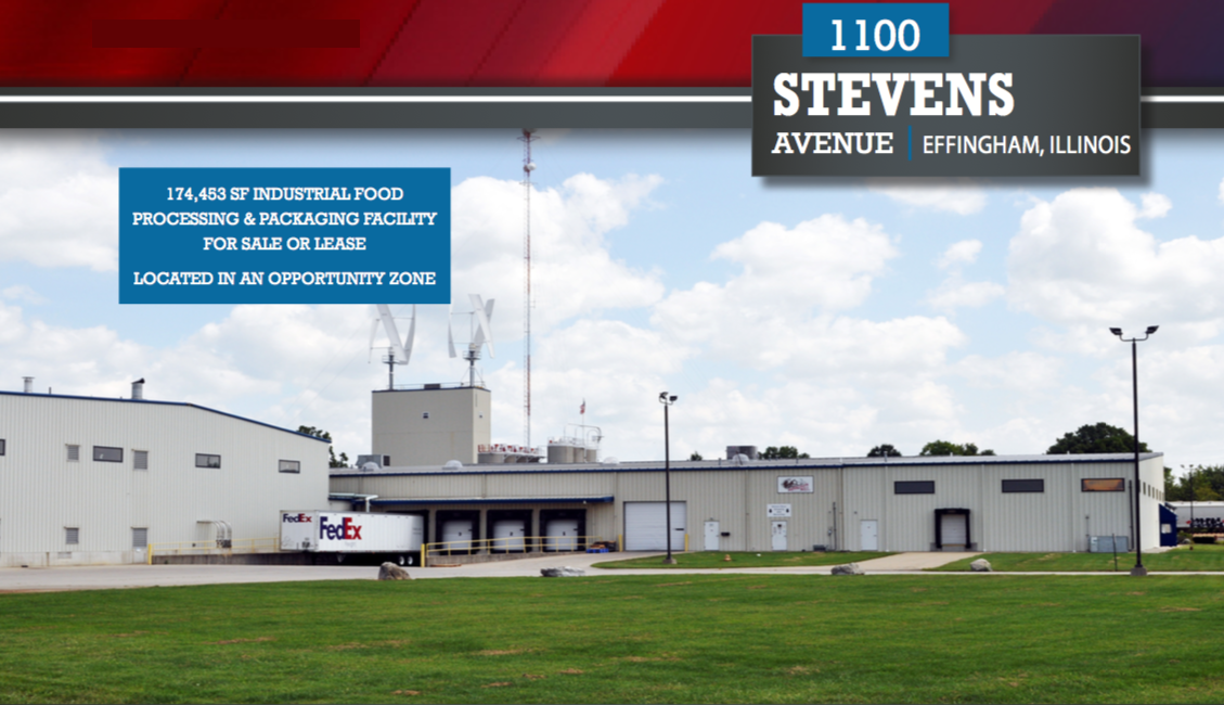 Real Estate Located at: 1100 Stevens Ave., Effingham, IL. 174,453 SF, 10 Acres, Originally Construct