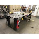 "Metal Work Table w/ Contents, 96"" Long x 48"" Wide x 36"" Tall"