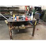 "Metal Work Table w/ Contents, 48"" Long x 36"" Wide x 36"" Tall"