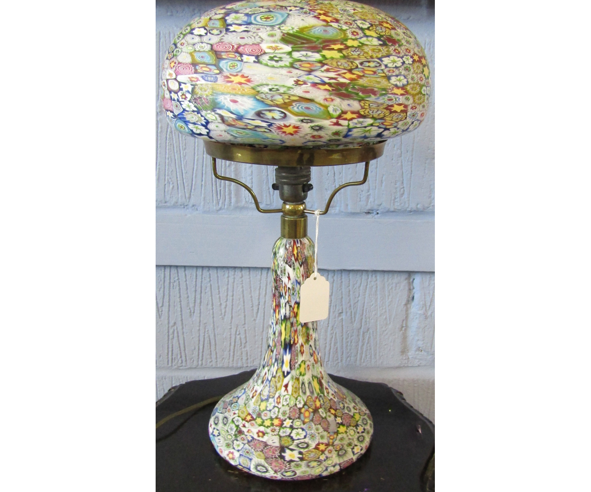 Venetian Glass Millefiori Type Table Lamp With A Mushroom Shaped Shade Over A Spreading Circular