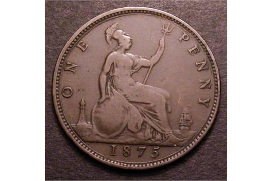 Mint Error Mis-Strike Penny 1875 Reverse brockage of Reverse