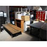 Quantity of display items, including; Wooden Blocks, Chairs, 4 3-person Lockers, Low Level Tables
