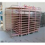 4 mobile steel Trolley/Cages, 12 shelves