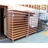 3 mobile steel Trolley/Cages, 12 shelves