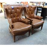Pair of Artsome Coach House Collection, antique effect Leather Upholstered Armchairs